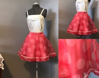1950's Inspired Swing Pink Polka Dot Skirt and Cream Satin Camisole