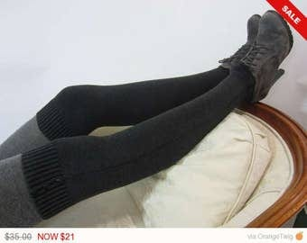 Sale -  Gray Boot Sock for Women Over the Knee Socks Leg Warmers Charcoal Grey knit Thigh High A1445