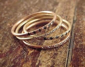 Rose Gold Wedding Band Women 14K Rose Gold Ring Diamond Ring Rose Gold Wedding Bands Womens Gold Ring Diamond Band Rose Gold Stacking Rings