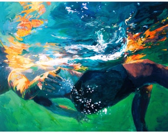Art Print of Swimmer painting titled Boy of LIght - Archival Quality Professional Art Print on Hahnemuhle photo rag