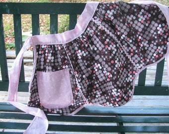 1950's Style Retro Apron, Chocolate Brown with Pink and Blue, ready to ship