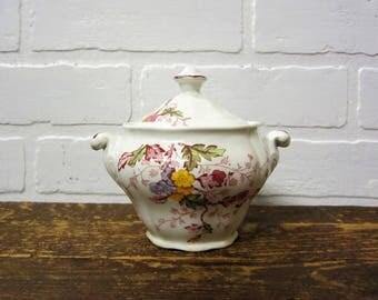 Vintage SR Ridgway Ironstone Staffordshire England English Garden Sugar Bowl