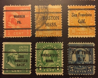 "12 Cities- Recycled Postage Stamp Framed Art 4""x6"" Chicago, San Fran, Boston, New York, Los Angeles, Detroit, Minneapolis, Cincinnati more"