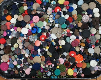Vintage Fabric Button Destash Lot
