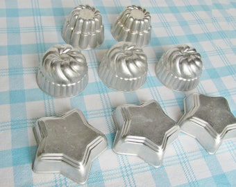 Tin Jello Molds, Mixed Lot of 8 Bundt, Tart, Candy, Soap Making Aluminum Craft Molds