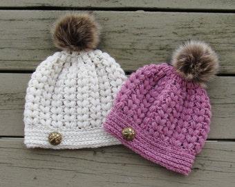 Crochet Hat Pattern, Puff Stitch Hat Pattern, Crochet Beanie Pattern, Baby to Woman Sizes, Pearl Beanie
