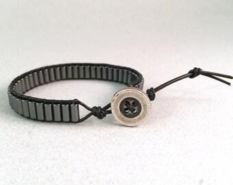 Hematite Leather Wrap Bracelet