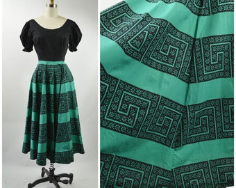 1940s Square Dance Dress Size Small Green and Black Cotton Top Stripe Circle Skirt Puff Sleeve Home Sewn