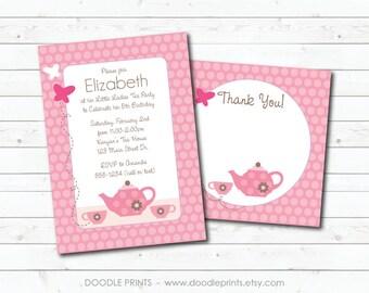 TEA Party Invitation Thank You Card, Printable Invitation Pink Princess Birthday Tea Party Design, Girl Tea Pot Party, Polka Dot 5x7 or 4x6