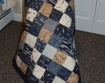 FREE SHIPPING, Hearty Good Wishes, Nautical Lap Quilt, Blue Baby Quilt, Hand Quilted