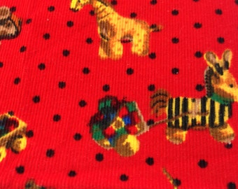 Red Corduroy Fabric, Stuffed Toy Print Fabric, Sewing Material, 7/8 Yd Sewing Fabric