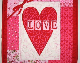 Valentine Wall Hanging, Table Topper,  Hearts, quilted