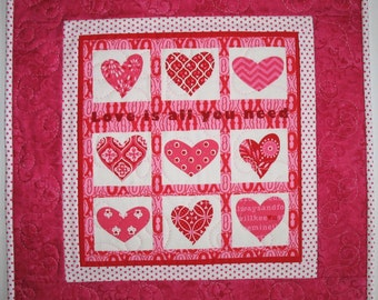 Valentine Table Topper  Hearts with Polka Dots, quilted, red, pink and white