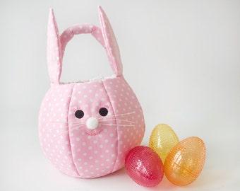 Easter Bunny Basket Personalized Easter Basket Fabric Easter Basket Egg Hunt Basket