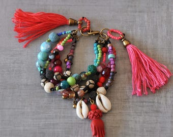 Hamsa Hand Gypsy Bracelet,  Ethnic Gemstone Bracelet,  Bohemian Charmed Bracelet,  Boho Beaded Tassel Bracelet