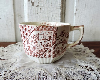 Antique Brown Transferware Teacup from the 1800's  Made in England Unmarked Flower Design