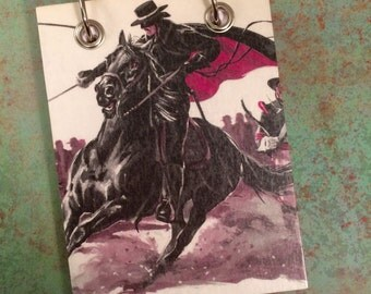 Recycled  Notebook - Zorro - Upcycled Vintage Book - Large Notepad - Refillable Notepad