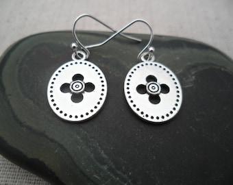 Silver Flower Earrings - Simple Everyday Silver Earrings - Moroccan - Bohemian