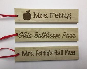 Personalized teacher hall passes, bathroom passes, classroom decor
