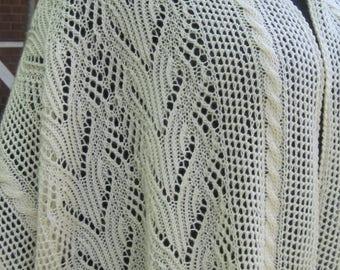 Knit Shawl Pattern:  The Glencoe Lace and Cable Shawl Knitting Pattern