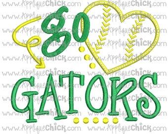 Go Gators Applique Design Machine Embroidery, Baseball Applique