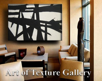 Painting Huge Black White Abstract Painting Custom Original Texture Impasto Minimalist Geometric by Je Hlobik