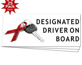 DESIGNATED DRIVER On Board December Drunk Driving Prevention Window or Bumper Sticker 25-Pack