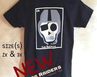 """Adult 2x & 3x """"Los.Raiders"""" Sugar Skull Tee"""