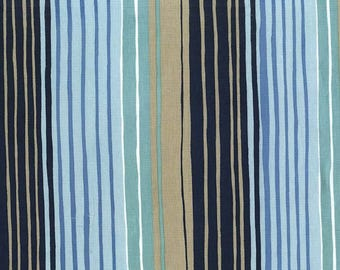 Nautical Stripe Fabric SANDPIPERS Tideline Navy Blue DC7331 Michael Miller