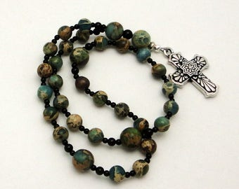 Aqua Terra Jasper Anglican / Protestant Prayer Beads with TierraCast Pewter Talavera Cross