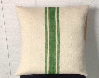 Striped Burlap Pillow Cover/Textured Grain Sack Burlap Pillow in True Green by sweet janes plan