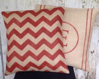Chevron Burlap Pillow/Rustic Red Chevron Pillow Cover by sweetjanesplan