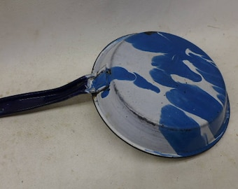 Vintage Enamelware Frying Pan -Graniteware Fry Pan -  Swirl Blue Fry Pan