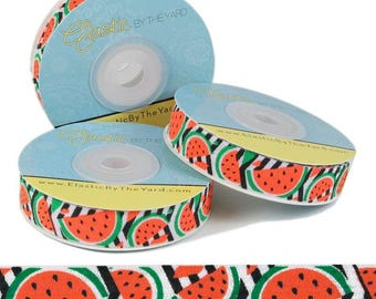 "Watermelon Print - Fold Over Elastic - 5/8"" Wide - 5 YARDS"