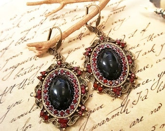 Red Swarovski Crystals, Black Cabochon Earrings, Antiqued Brass Renaissance Victorian Vintage Style Earrings, Crystal Earrings, ER-0322
