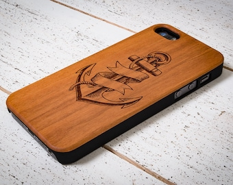 Engraved Wood Cell Phone Case - Anchor