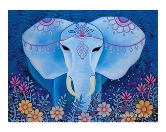 "17x23cm Print, ""Blue Elephant"""
