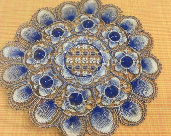 """Vintage Navy Blue and White Hungarian Needle Lace round Doily 13""""- blue doily, needle lace doily, Hungarian needle lace, round doily"""