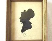 Silhouette Portrait 1800s Cut Antique Paper American Woman Gold Frame Mary Flaharty
