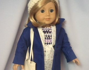 18 Inch Doll Clothes Seven Piece Outfit including Coat, Pants, Shirt, Hat, Shoes, Scarf and Purse for dolls like American Girl