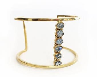 ON SALE Blue Herkimer Cuff - Gold cuff, gemstone cuff, herkimer cuff, modern cuff, herkimer jewelry