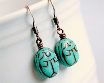 scarab beaded copper drop earrings, dangle, luck, boho, bohemian, egypt, aqua copper