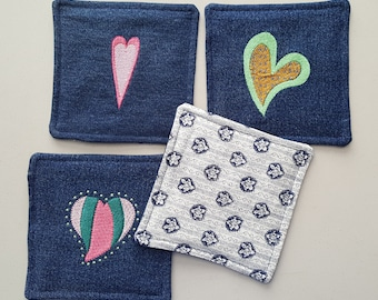 Handmade Quilted Coasters, Mug Rugs Set (4)  Upcycled blue jeans, Denim with embroidered hearts in various embroidery thread colors