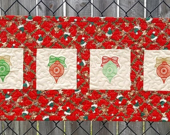Quilted Table Runner or Wall Hanging Features Embroidered Christmas Ornaments Red Green and White