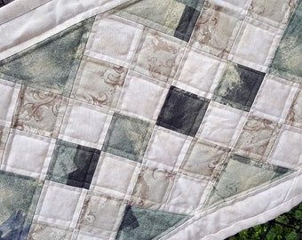 Quilted Green Cream and Tan Patchwork Small Table Runner or Topper diagonal patchwork