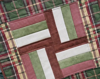Mini Quilt, Candle Mat, Table Mat or Topper Strip patchwork with a country look and feel