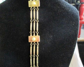 1960s goldplated with real pearls chain link Bracelet
