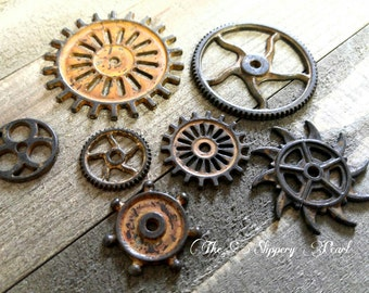 Clock Gears Clock Parts Clock Mechanism Brass Gears Rusty Metal Gears Steampunk Gears Assorted Gears 7 pieces