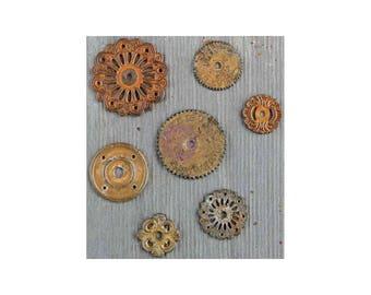 Clock Gears Clock Parts Clock Mechanism Brass Gears Rusty Metal Gears Steampunk Gears Assorted Gears Washers 7 pieces