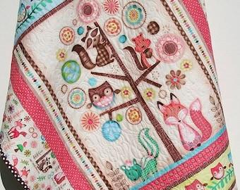 Baby Quilt, Friendly Forest Animals, Reversible, Girl Bedding, Nursery Decor, Woodland Fox Owls Flowers, Pink Brown Aqua